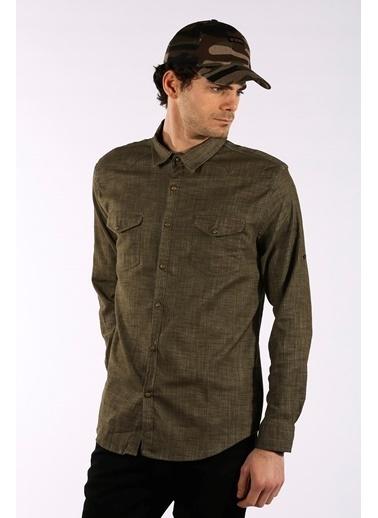 Rodrigo Erkek Siyah Çift Cep Kapaklı Jean Gömlek Haki